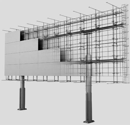Рекламная металлоконструкция Мегаборд, формат плоскости 12х36 м